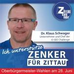 """Dr. Klaus Schwager, Unternehmer und Chef der O-SEE Challenge:  """"Wir müssen uns wieder mehr auf unsere eigenen Stärken besinnen, Selbstbewusstsein aufbauen. Persönlichkeiten sind gefragt, Persönlichkeiten mit Idealen, Visionen und einem gesellschaftlichen Kompass. Bürgermeister welche die Stadt zu neuer Blüte führen. Thomas Zenker traue ich dies zu, er hat mein Vertrauen."""""""