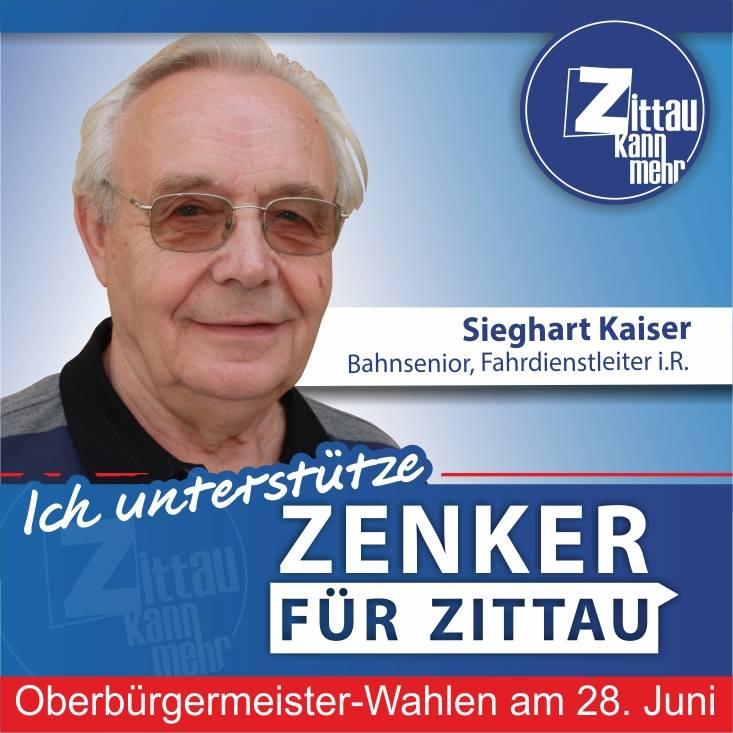 """Sieghart Kaiser, 77 Jahre, Fahrdienstleiter i.R. Bahnsenior: """"Ich unterstütze Thomas Zenker, weil er begriffen hat, dass es in Zittau nur parteiübergreifend und bürgernah sinnvoll weitergehen kann. Die Menschen – auch die jungen – müssen viel mehr in die Entscheidungen in ihrer Stadt einbezogen werden. Die Erfahrung der Alten und der Mut der Jungen gehören zusammen – für Zittau!"""""""