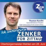 """Thomas Kurzke, 46 Jahre, Geschäftsführer/Inhaber G&K Gebäudetechnik in Zittau: """"Ich unterstütze Thomas Zenker, weil ich ihn in seiner Zielstrebigkeit und Beharrlichkeit im Rathaus wissen will. Er hat es bereits jetzt vermocht generationsübergreifend Leute zu motivieren, die sich bisher noch nie politisch engagiert haben. Er ist in der Lage, Menschen mit ihren verschiedenen Stärken für ein Ziel zu mobilisieren und mit ihnen konsequent an der Umsetzung dranzubleiben."""""""