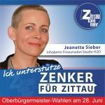 """Jeanette Sieber, 37 Jahre, Friseurmeisterin/Inhaberin Friseurstudio H2O: """"Ich unterstütze Thomas Zenker, weil er u.a. ein Meister der Kommunikation ist. Politik bedeutet Erklären, Reden, Streiten, Motivieren und Überzeugen - also Kommunizieren mit Verstand und Klarheit. All das kann er. Er ist mein Kandidat für die OB-Wahl."""""""
