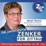 """Bärbel Thomas, 62 Jahre, Buchhändlerin/Inhaberin Buchkrone Markt Zittau: """"Ich unterstütze Thomas Zenker, weil er hochmotiviert in seine Heimatstadt zurückgekehrt ist und sich und seine Erfahrungen aus 10 Jahren freiberuflicher Arbeit in Zittau einbringen will. Das verspricht einen anderen Blickwinkel und Politikstil."""""""