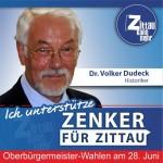"""Dr. Volker Dudeck, 67 Jahre, Historiker: """"Ich unterstütze Thomas Zenker weil ich hoffe, dass unsere Stadt unter seiner Führung nicht nur nach Vorschrift verwaltet, sondern mit neuen Ideen und Mut gestaltet wird. Zittau kann wirklich mehr, wenn es sich auf seine Stärken besinnt."""""""